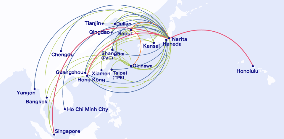 Xiamen Airlines Route Map.Gateway Cities Air Japan
